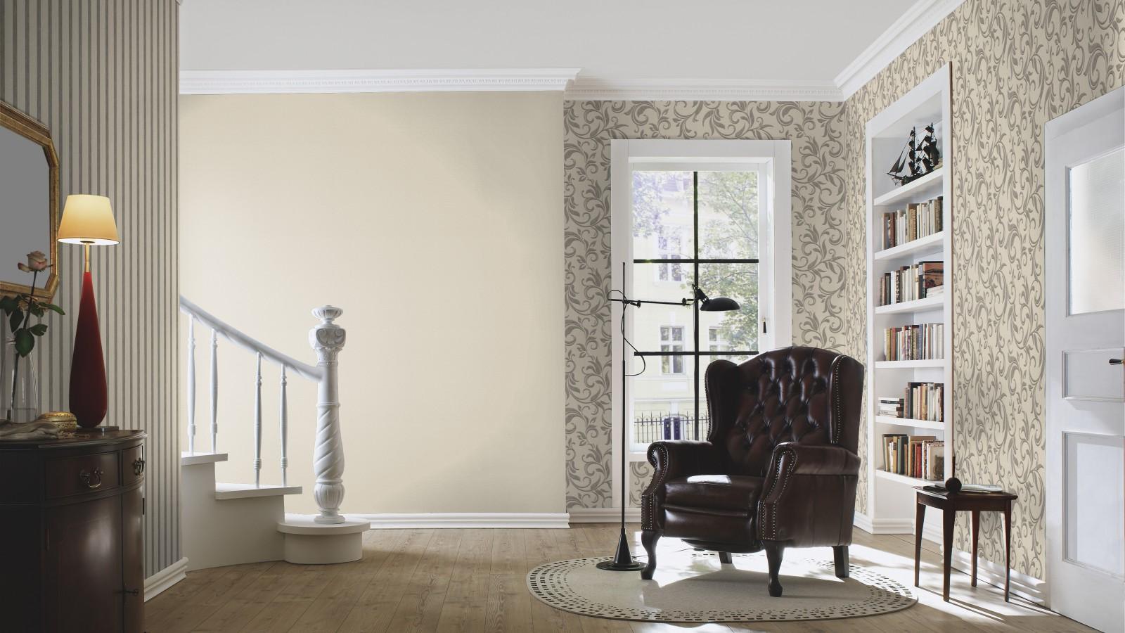 rasch tapete beige grau ranken home vision 732504. Black Bedroom Furniture Sets. Home Design Ideas