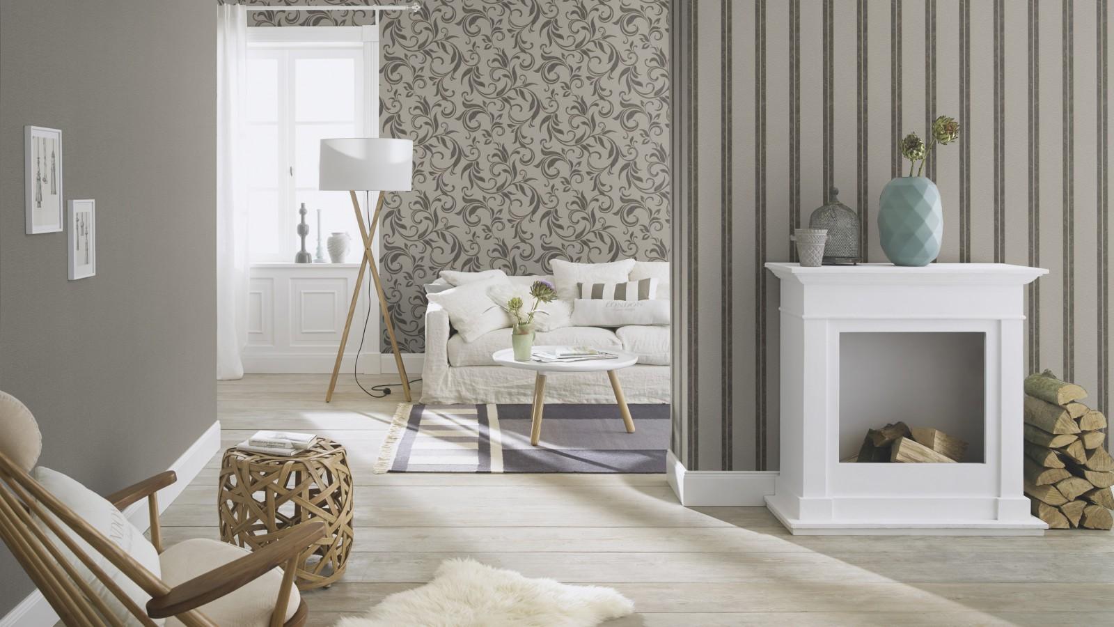 rasch tapete beige grau ranken home vision 732535. Black Bedroom Furniture Sets. Home Design Ideas