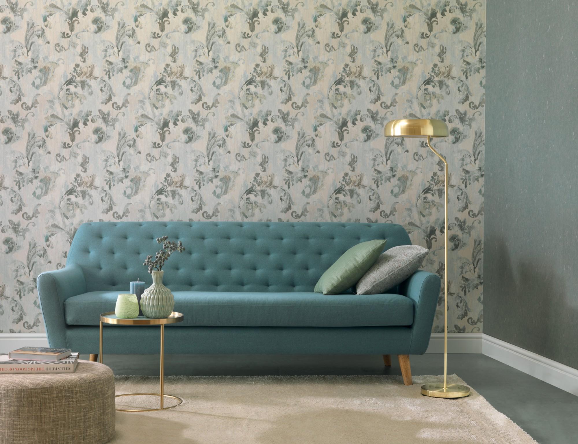 Textil Tapeten Verarbeiten : Rasch Textil Tapete Tintura Floral grau t?rkis 227054