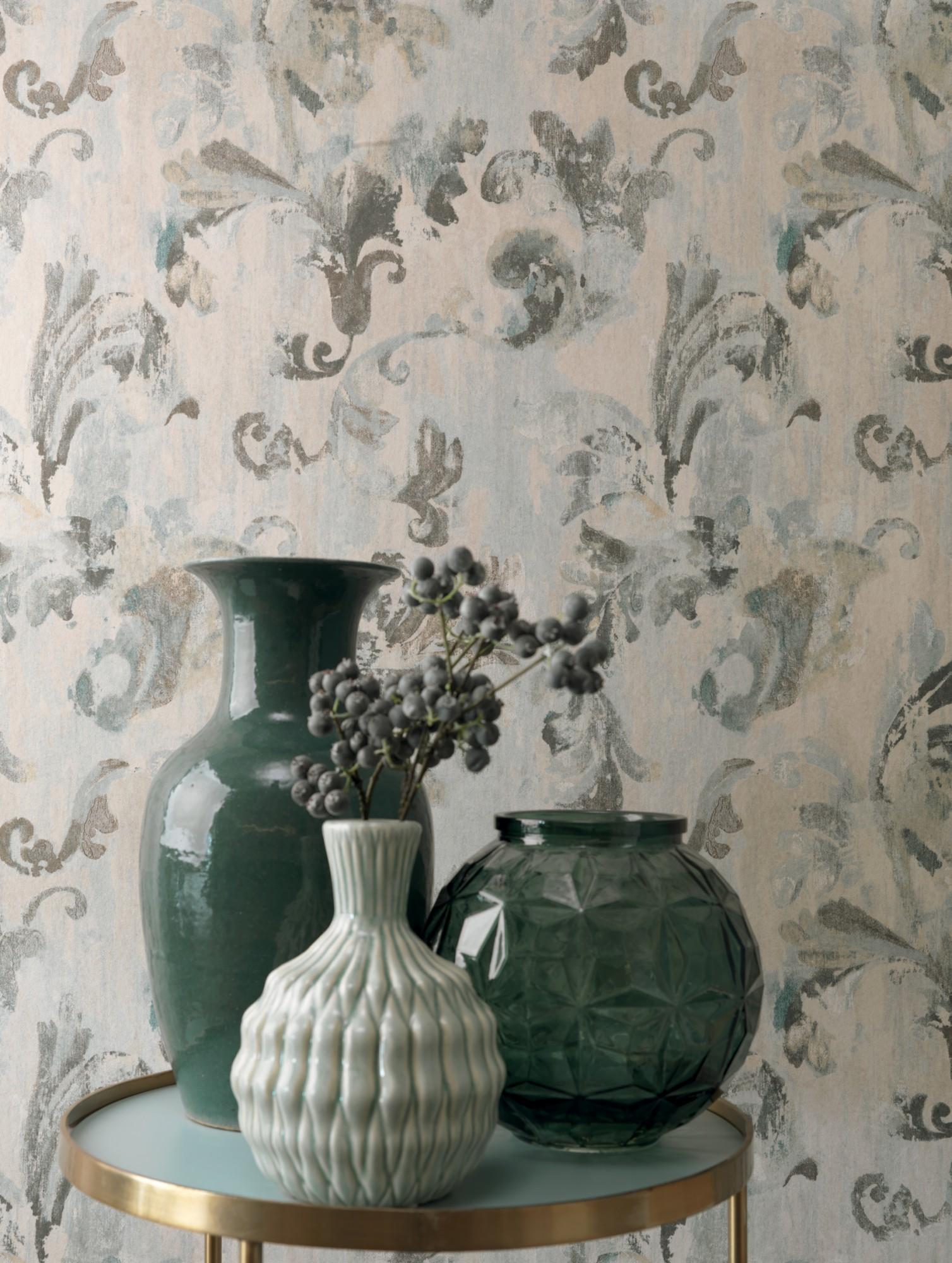 rasch textil tapete tintura floral grau t rkis 227054. Black Bedroom Furniture Sets. Home Design Ideas