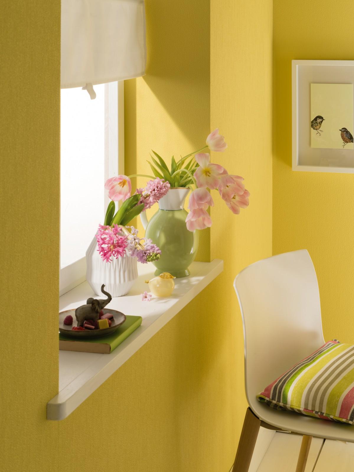 zuhause wohnen tapete einfarbig gelb 57156. Black Bedroom Furniture Sets. Home Design Ideas
