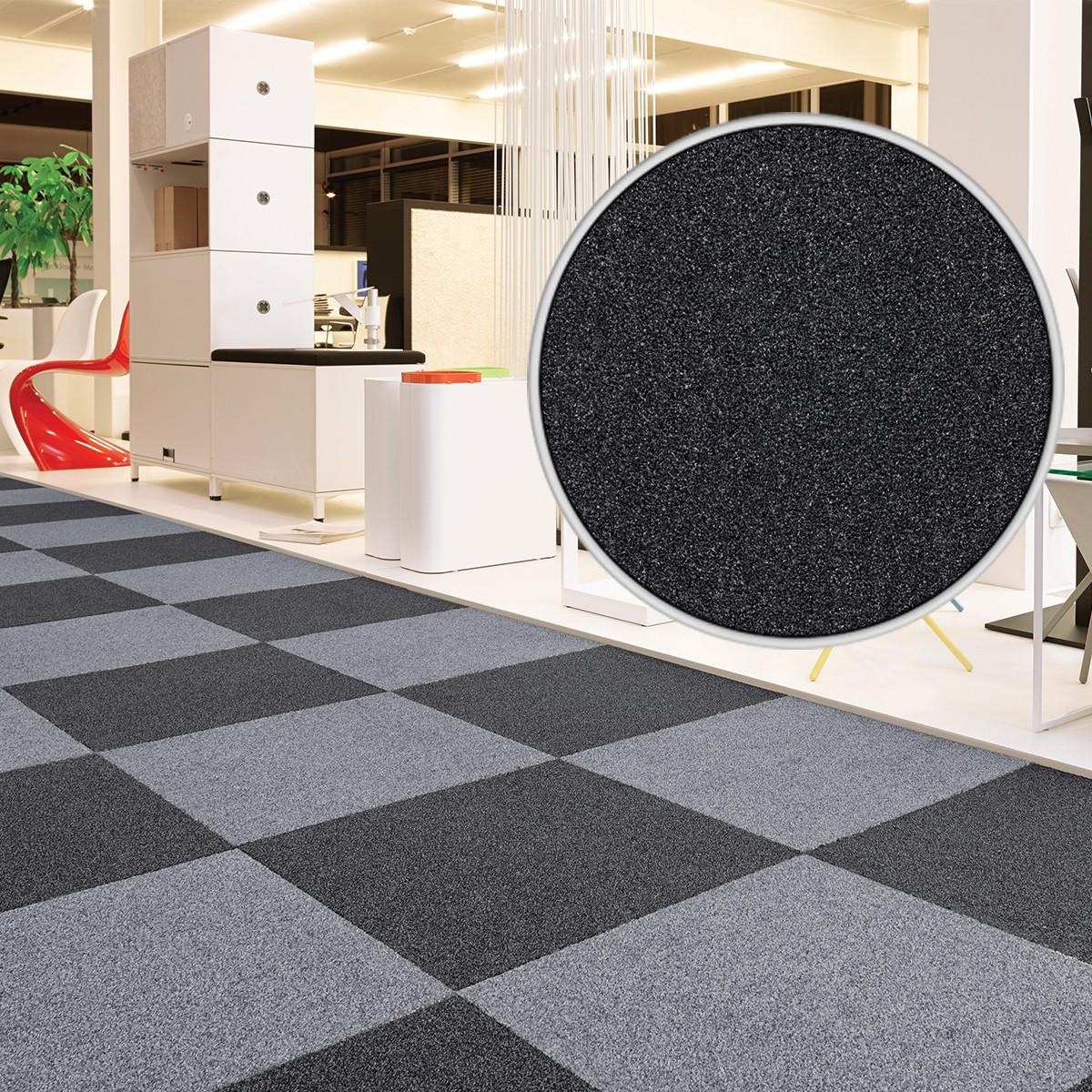 teppichfliese velour schwarz intrigo 50x50 cm. Black Bedroom Furniture Sets. Home Design Ideas