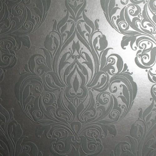 Barock Tapete T?rkis Silber : Vintage Silver Metallic Wallpaper