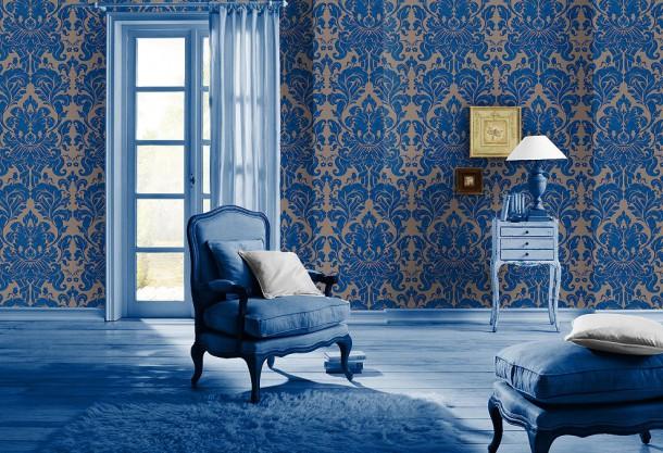 vliestapete barock hellbraun blau tapete rasch en suite 546415. Black Bedroom Furniture Sets. Home Design Ideas