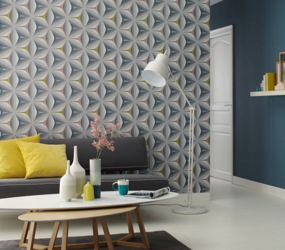 tapete vlies grafik grau senfgelb t rkis livingwalls move your wall 96042 2. Black Bedroom Furniture Sets. Home Design Ideas