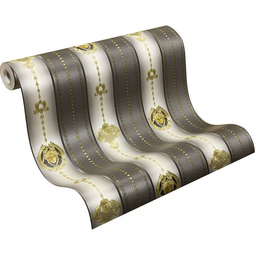 Tapete Violett Gestreift : Cream Gold Glossy Flooring