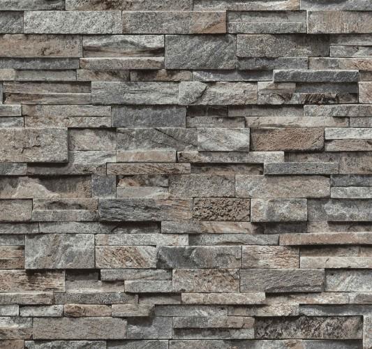 Tapete vlies stein optik grau braun ps 02363 20 for Steintapete braun