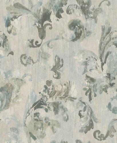 Textil Tapete Verarbeiten : Rasch Textil Tapete Tintura Floral grau t?rkis 227054
