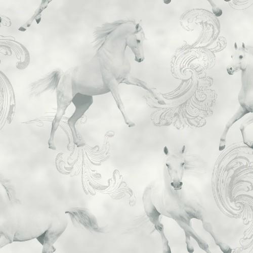 Kinder Tapeten Pferdemotiv : Horse Silver Glitter Background