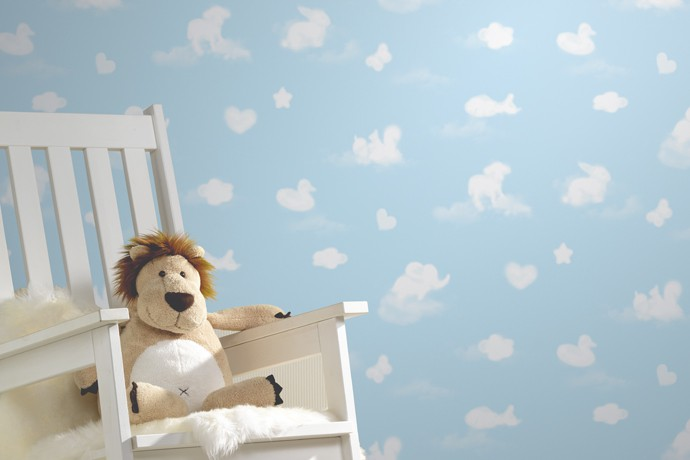 p s kindertapete happy kids tapete 05572 20 557220 wolken rosa wei. Black Bedroom Furniture Sets. Home Design Ideas