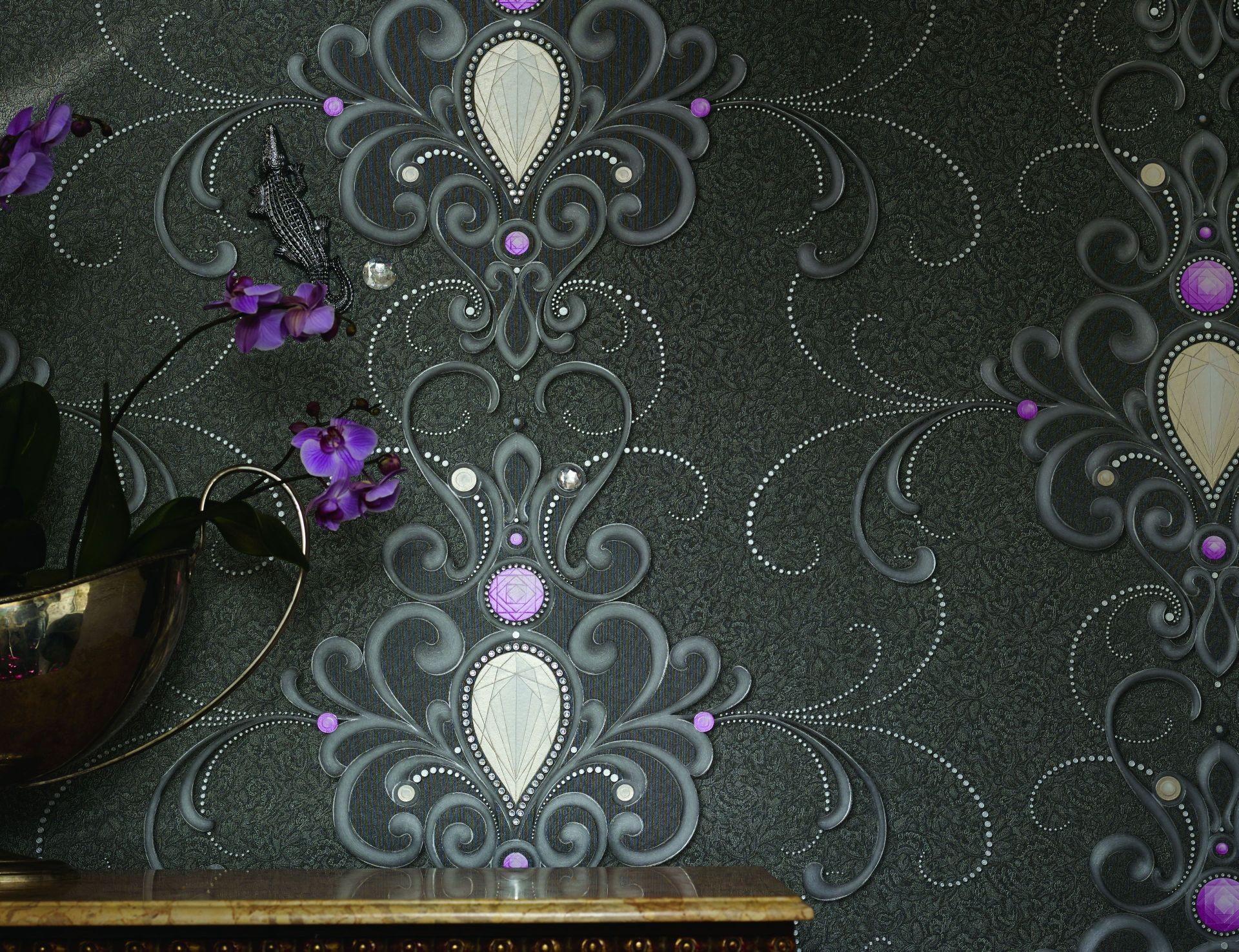 harald gl ckler deux vliestapete 54425 barock diamant grau. Black Bedroom Furniture Sets. Home Design Ideas