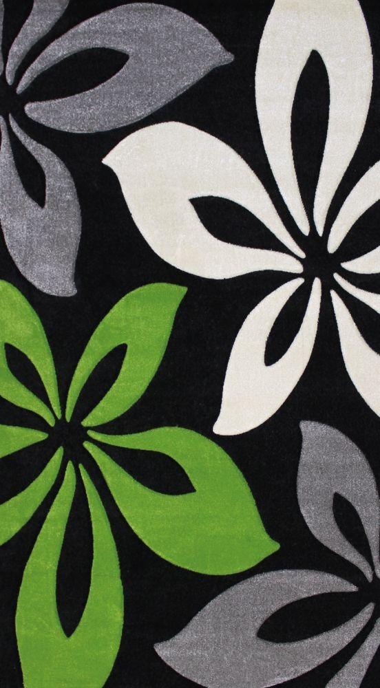 Teppich Florida Blumen grün schwarz in 4 Größen