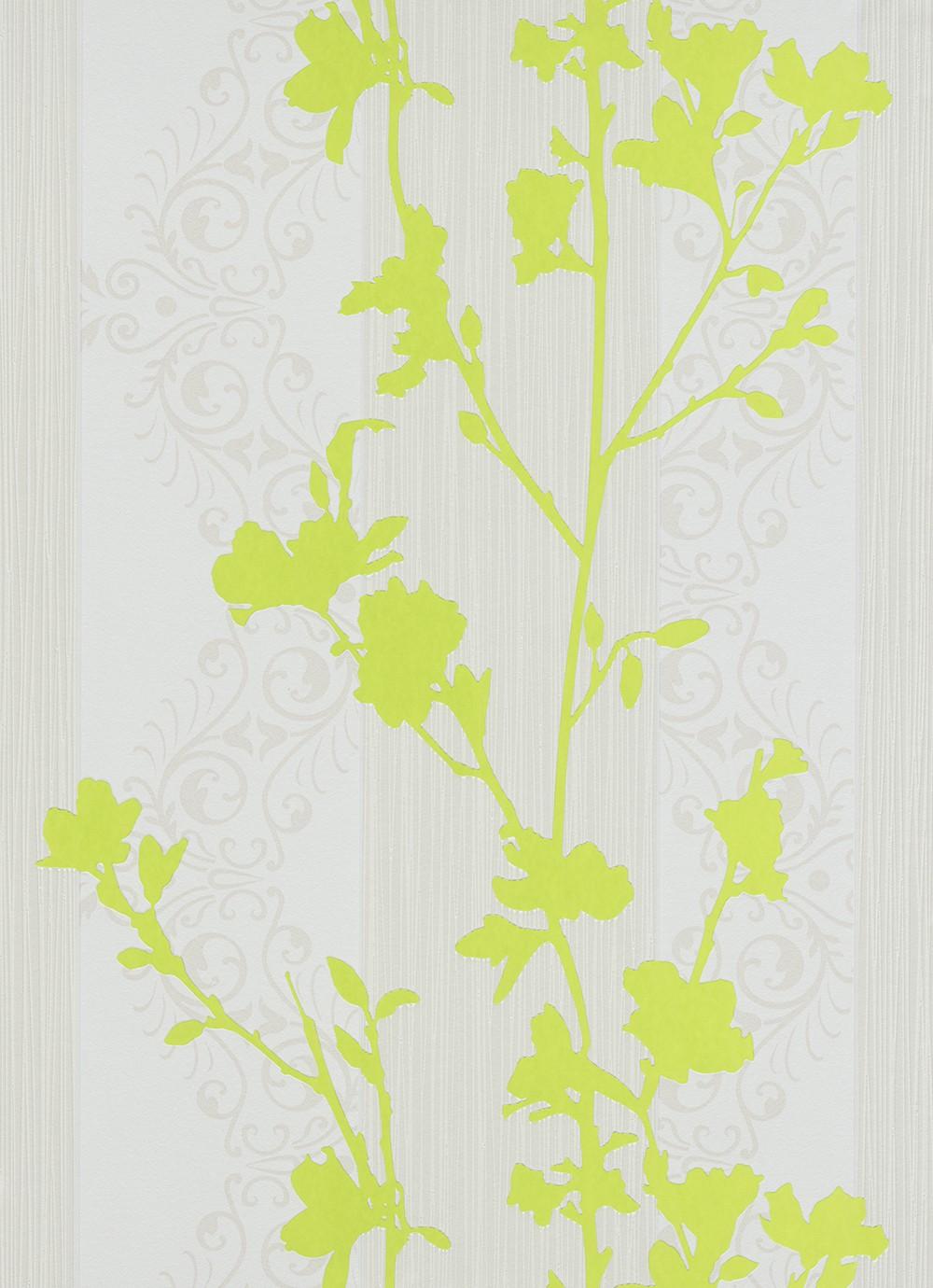 wohnzimmer grün weiß:wohnzimmer creme grün : Vliestapete Ranken grün weiß creme Tapeten