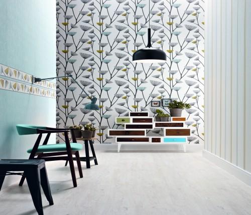 sch ner wohnen 4 tapete grau wei blumen 2692 18. Black Bedroom Furniture Sets. Home Design Ideas